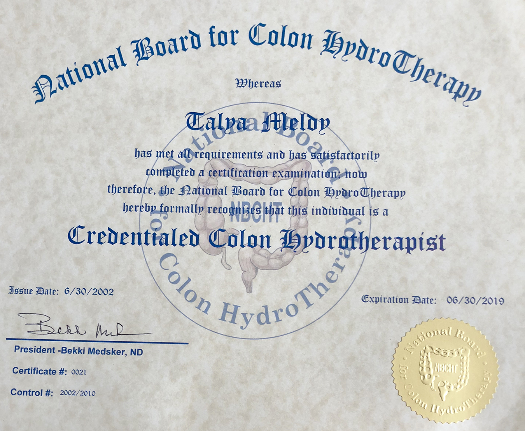 National Board Colon Hydrotherapist Certification